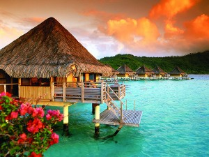 Beautiful sunset from the InterContinental Bora Bora Le Moana Resort