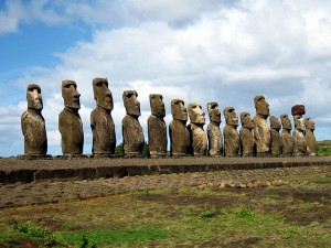 The Moaï in the Easter island