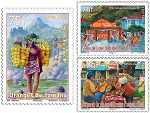 Stamps on the theme of daily life in French Polynesia