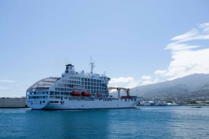 View of cruise ship Aranui